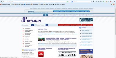 Site do DETRAN PE